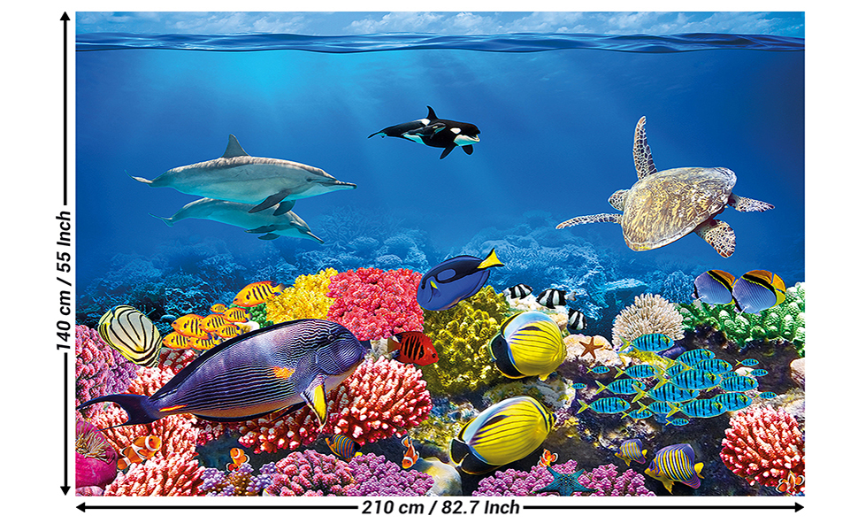 Childrens Room Mural Aquarium Mural Decoration Underwater World Sea Dweller Ocean Fishes Dolphin Turtle Coral Reef Wallpaper Photoposter Wall