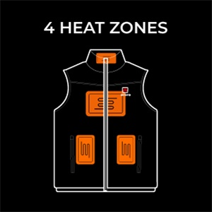 4 heating zones - Ororo heated vest