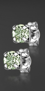 Silver Swarovski Square Earrings