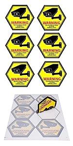 Security Camera Decal Warning Window Stickers, CCTV Video Surveillance Recording Sign hexagon