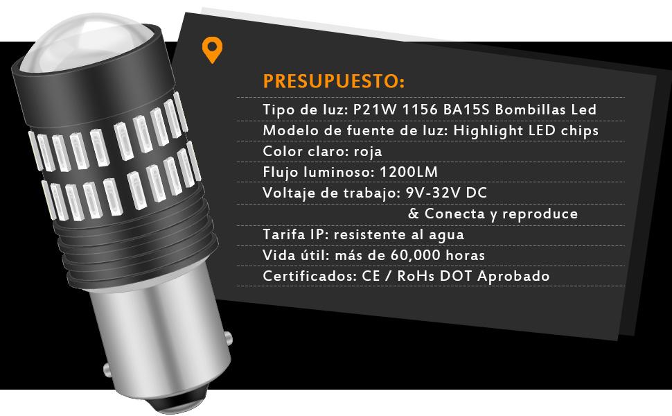 KATUR 2 X 1200 lúmenes Super Brillante 1156 7506 BA15S Bombillas ...