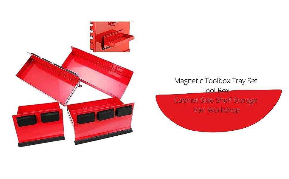 Magnetic Toolbox Tray Set Tool Box Cabinet Side Shelf Storage Van Workshop