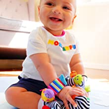 Baby playing with foot finder socks