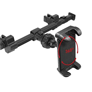 Car Tablet Headrest Mount Holder with USB Car Hub Charging & Cigarette Lighter Power Adapter