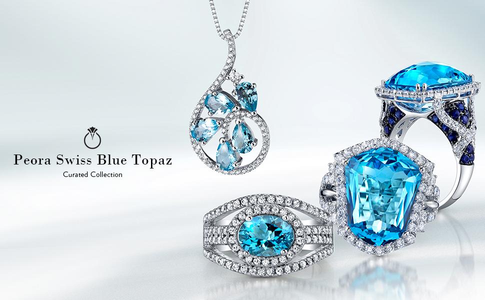 peora swiss blue topaz jewelry necklace pendant ring earrings bracelet december gem-stone birthstone