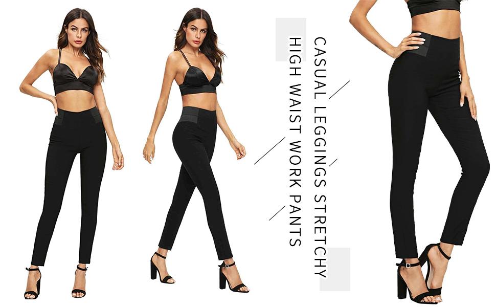 Stretchy High Waist Work Pants