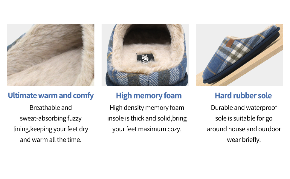 Breathable fuzzy lining, memory foam and non-slip sole