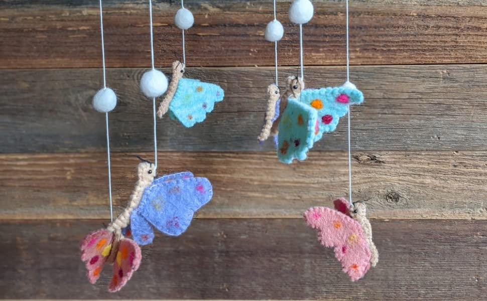 Bear /& Mountain Adventure Blue Boho Designs Felted Nursery Decor Set Includes 8Ft Pom Pom Felted Ball Garland in Coordinating Colors