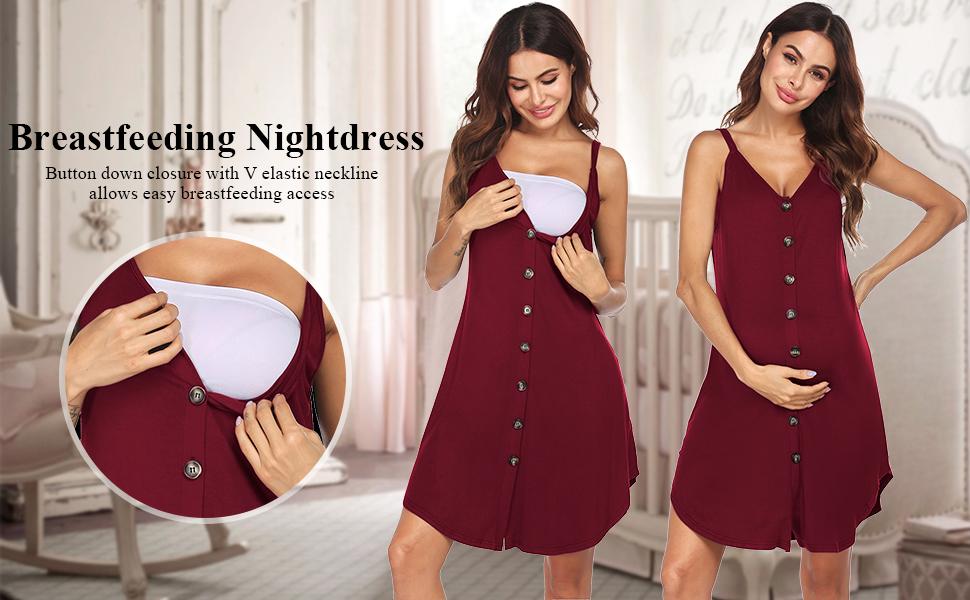 Ekouaer Nursing Nightgown Women's Maternity Dress Sleeveless Breastfeeding Sleepwear Hospital Gown
