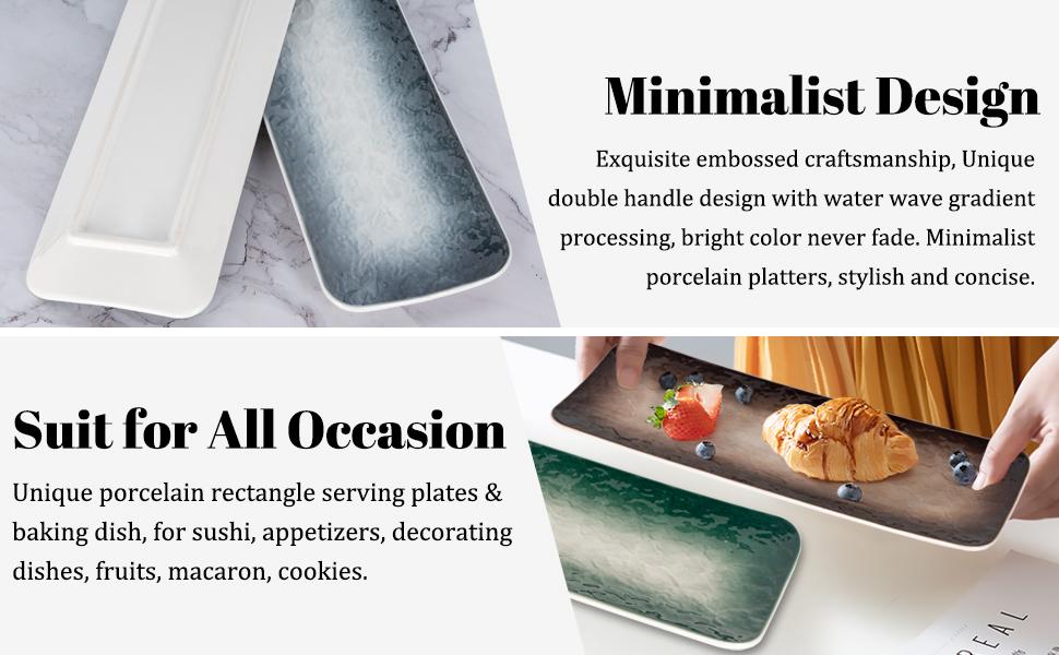 AQUIVER 10 Ceramic Platters Party Porcelain Rectangle Serving Plates Porcelain Water Wave Relief Texture Sushi Set of 3 Entertaining Guests for Appetizer Plates Assorted Colors Party