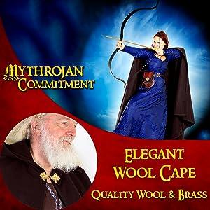 Princess Witch Renaissance Wool cape SCA LARP Cosplay Green Viking costume Warrior Vikings