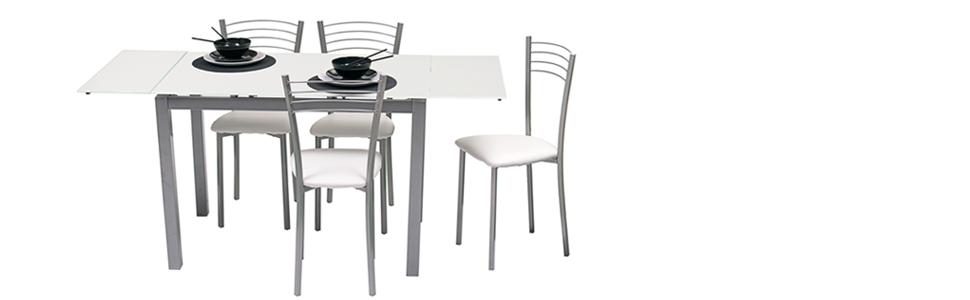 Homely Mesa de Cocina Extensible Paris sobre de Cristal Blanco y ...