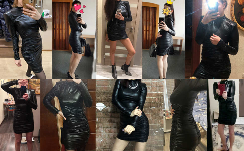 Womens Bodycon Long Sleeve Dresses Glitter Sexy Ruched Mini Dress with Shoulder Pads Party