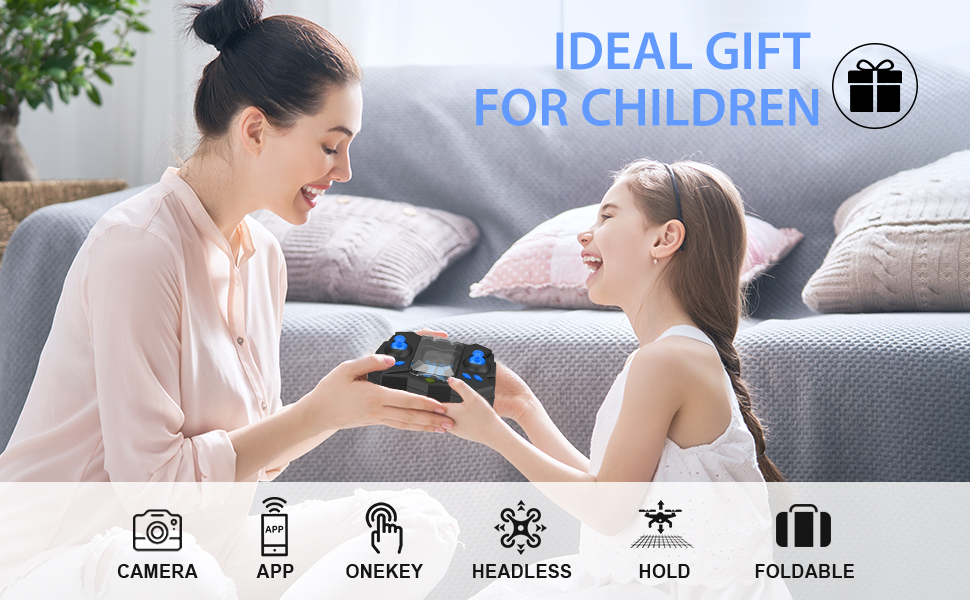 Flashandfocus.com 93356bf0-dbd1-4026-a2e8-0770ef9ce524.__CR0,0,970,600_PT0_SX970_V1___ Mini Drone with camera for KidsBeginners , Foldable Pocket RC Quadcopterwith App Gravity Voice Control Trajectory Flight, FPV Video, Altitude Hold, Headless Mode, 360°Flip, Toys Gifts for Boys Girls