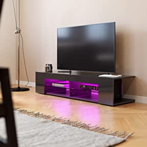 SONNI Mueble TV Negro,Mesa para TV de Salón con LED 135x39x30cm: Amazon.es: Hogar