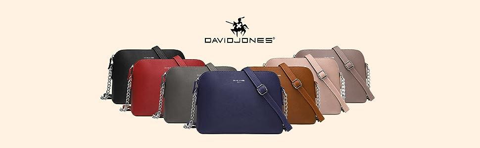 David Jones Damen Kleine Umhängetasche PU Leder Schultertasche Kette Schulterriemen Reißverschluss