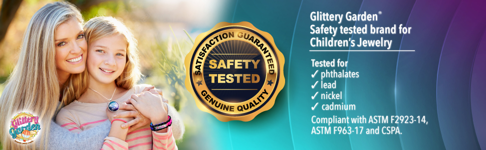 Glittery Garden safety tested Children's Jewelry Pendant Crafting ASTM F2923-14 ASTM F963 non toxic