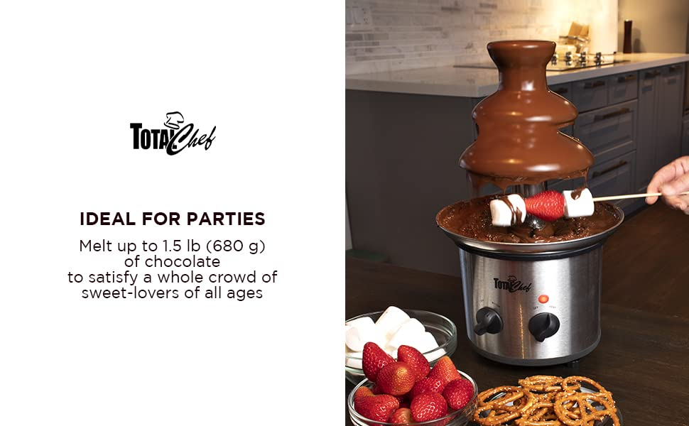 Chocolate chocolate fountain, tier, fondue, party, stainless steel, total chef portable, melting