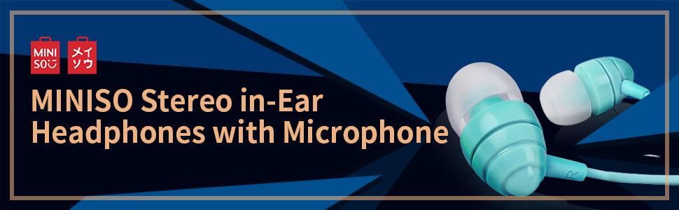 miniso,headphones,earphones,miniso earphone with mic, earphone with microphone, earphones for mobile