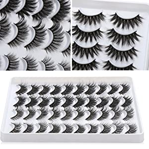 20 Pairs/set Mixed Styles 3D Faux Mink False Eyelashes Wispies Fluffy Natural Long Lashes