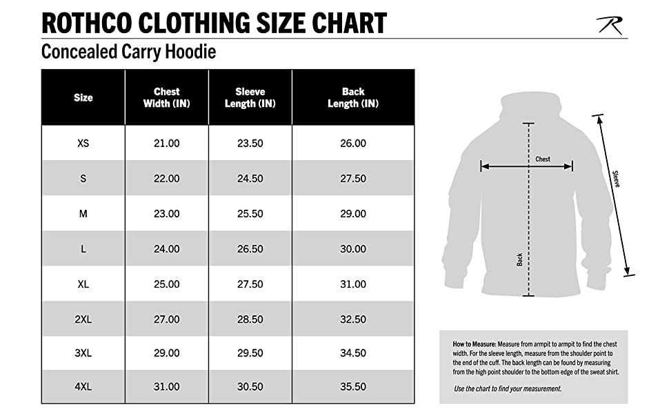 Concealed Carry Hoodie Size Chart