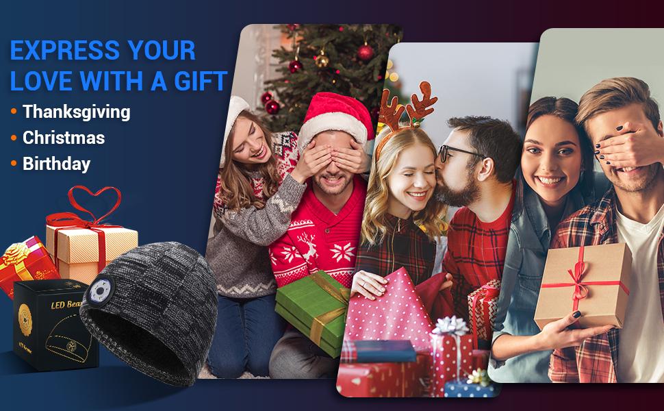 HANPURE Adventskalender Personalisierte Geschenke LED Mütze Frauen & Männer Mütze mit LED Licht