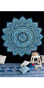 teal and black tapestry, psychedelic tapestry, tapastry's wall hanging, wall tapestry for bedroom
