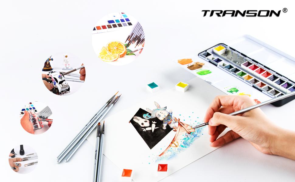 Transon Artist Detail Paint Brushes Set 15piece for Miniature Models Acrylic,