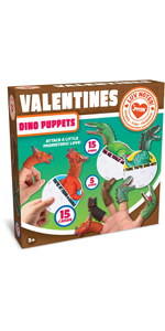 15 Pack Valentines Day Gift Cards with Dinosaur Figure Finger Puppet Set