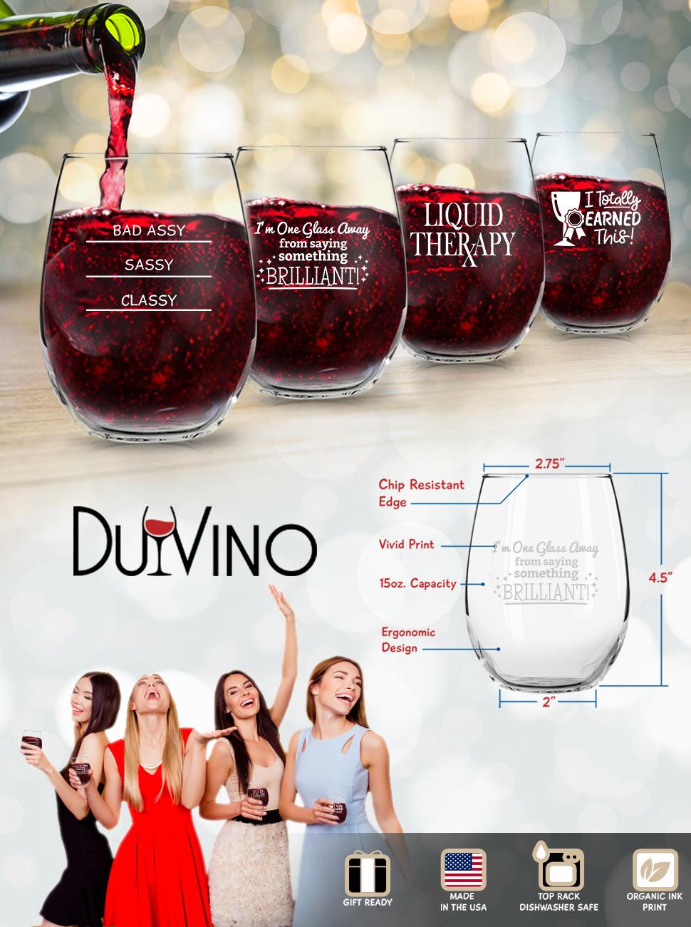 Funny Stemless Wine Glass Set of 4