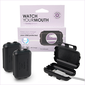 Black Watch Your Mouth, Child-Safe USB Charger Safety Cover