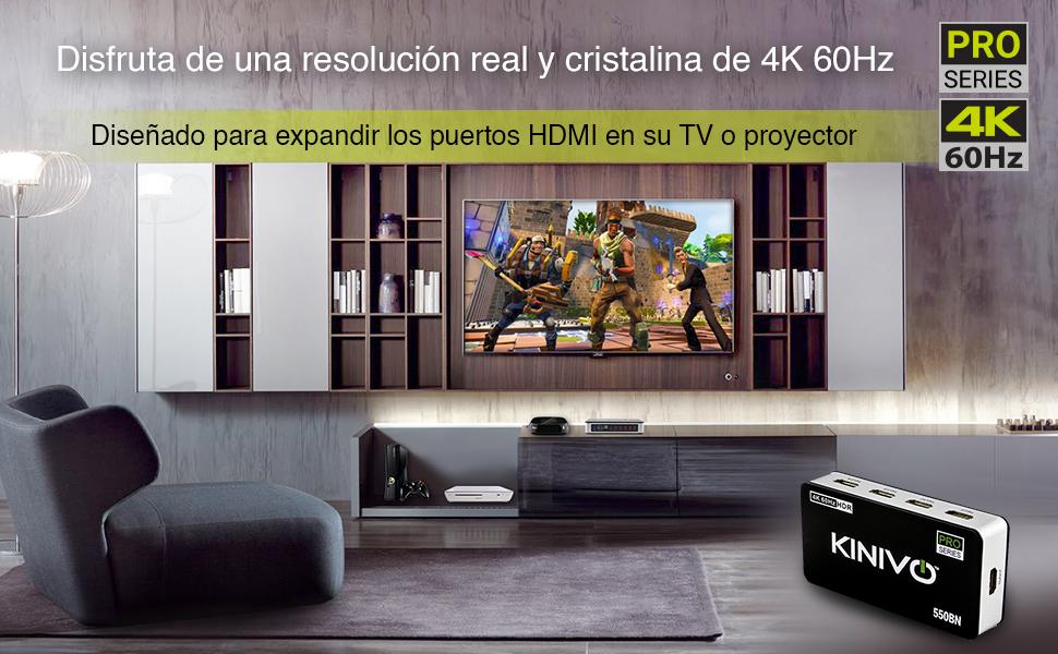 Kinivo 550BN 4K @ 60Hz Conmutador HDMI Premium de 5 Puertos con ...