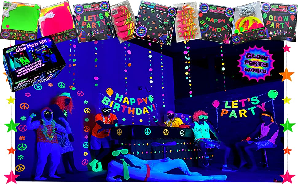 neon party garland decorations birthday decor black light glow in the dark party supplies banners