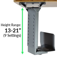 Adjustable Height & Width CPU Holder Standing Desk Accessories Stand Up Desk Accessory