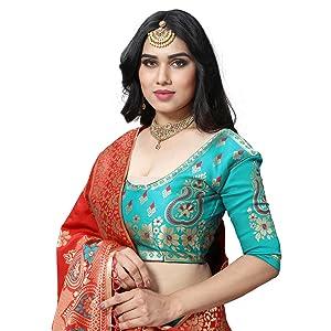 lehenga choli dupatta women Jacquard banarasi silk chania ghaghra party festival traditional wedding