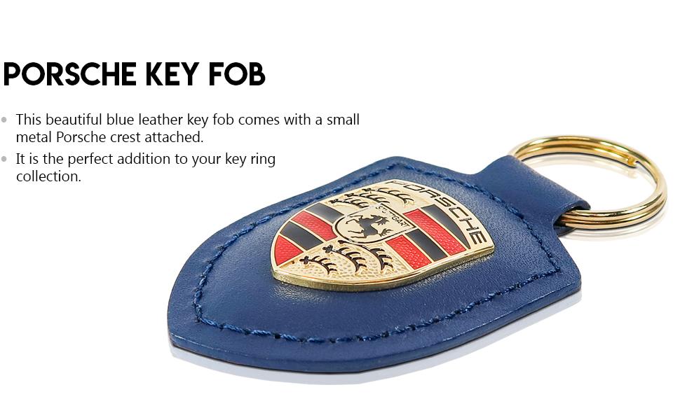 New Genuine Porsche Black Coloured Crested Leather Keyring Key Ring