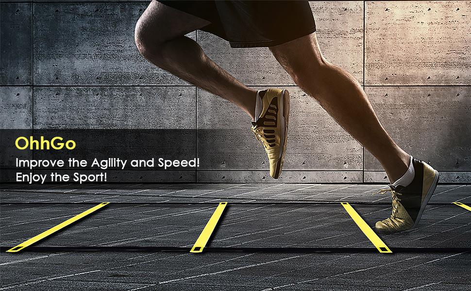 OhhGo Escalera de Agilidad Salto Ajustable Cuerda peldaños peldaños al Aire Libre Equipo de Entrenamiento de Velocidad de Fitness para niños ...