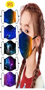 5Pcs Kids Face Mask Reusable