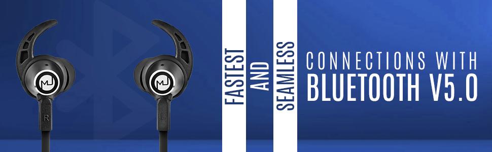Macjack Wave 400 Wireless Earphones - Black and blue