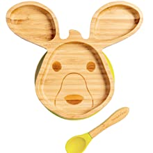 Bamboo and yellow silicone suction based plate in the shape of a kangaroo