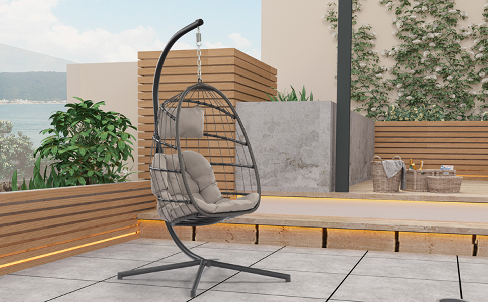 Hanging egg chair in the yard