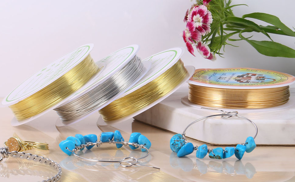 50Feet Silver Plated Brass Thin Metal Wires Bulk for Jewelry Making 21GA 10 Roll Silver Jewelry Wire