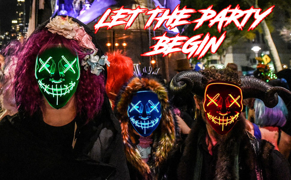 Dress Up & Pretend Play Halloween LED Light Up Glowing Purge Mask Scary  Lighting Neon Mask Costume Rave Party Gift Masks