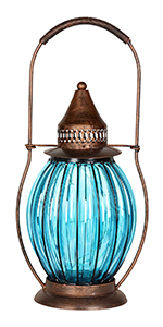 Glass Lantern in Metal Cage