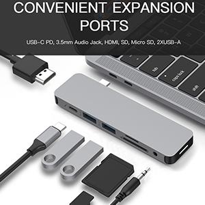 Turns a single USB-C port into 7 ports