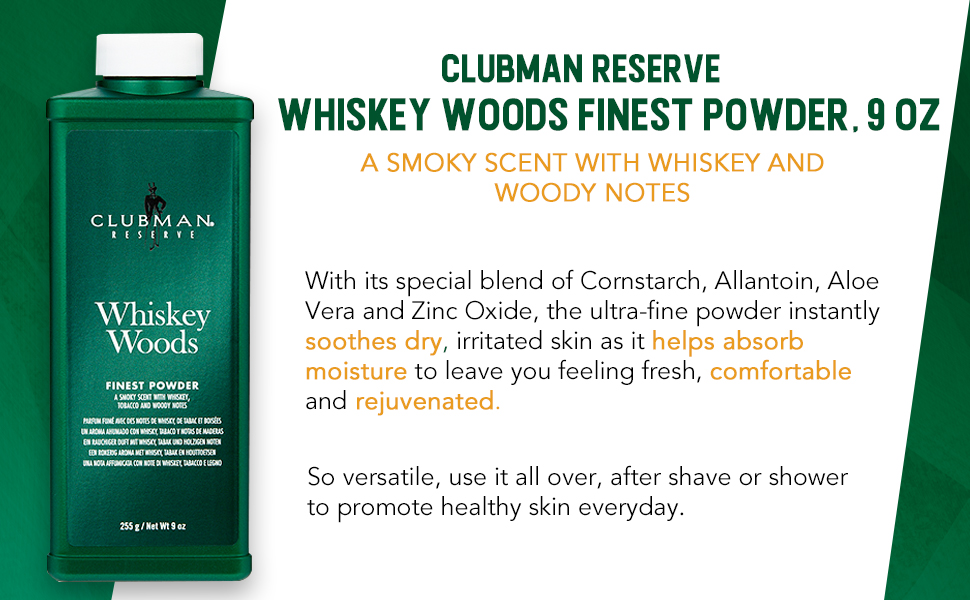 Clubman Reserve Whiskey Woods Cornstarch Powder, Post-Shave Grooming For Men (9 oz)