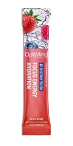 optimind alternascript water booster electrolytes focus energy hydration drink mix powder berry
