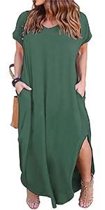 Nemidor Women's Casual Loose Pocket Long Dress Short Sleeve Plus Size Slit Maxi Dress