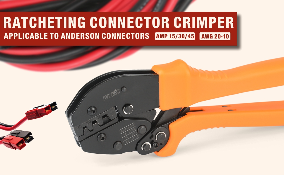 Iwiss Powerpole Ratcheting Wire Crimper Tools for 15 30 45 Amp Anderson Cable