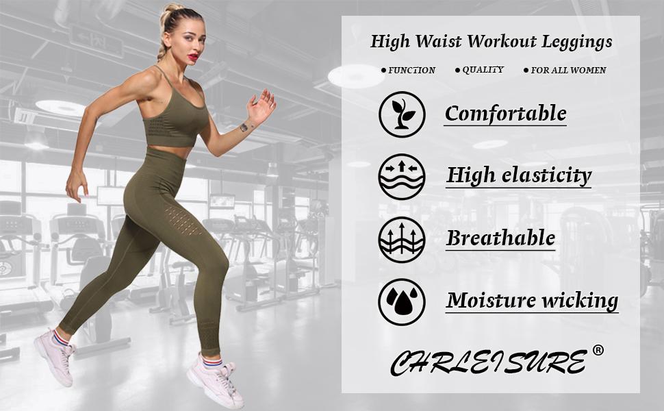 Women's High Waist Workout Gym Seamless Fitness Yoga Running Leggings Butt Lift Active Tights